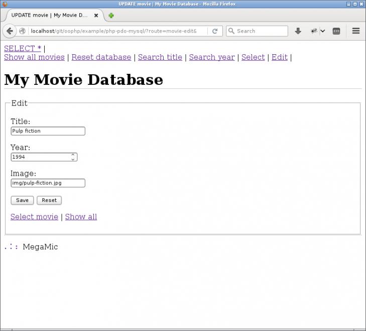Ett formulär för att redigera detaljer om en film.