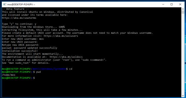 Nu är Bash för Windows installerat och klart.