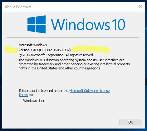 Version 1703 eller högre visat att Creators update är installerad.