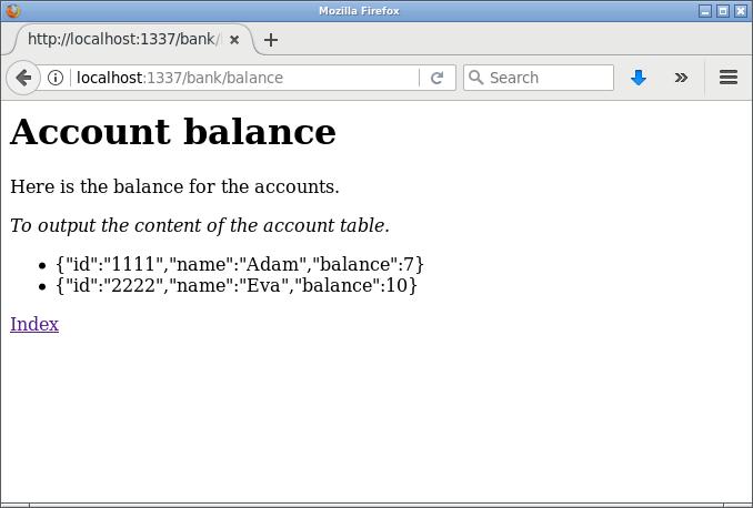 Balansen skrivs ut i form av ul/li och JSON.