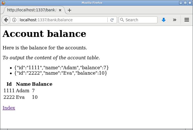 Balansen skrivs även ut i en tabell.