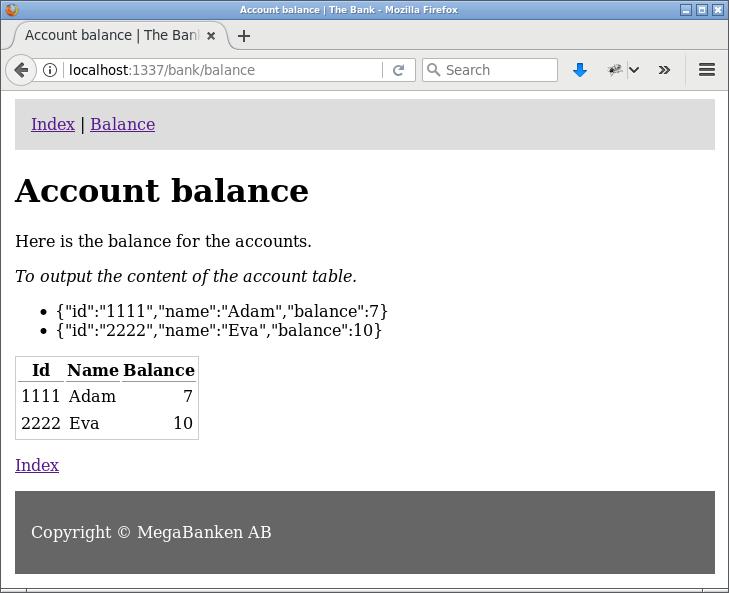 En bank i Express som kopplar sig till MySQL, redo för transaktioner.
