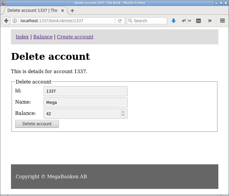 Sida som förbereder användaren för att radera ett konto.