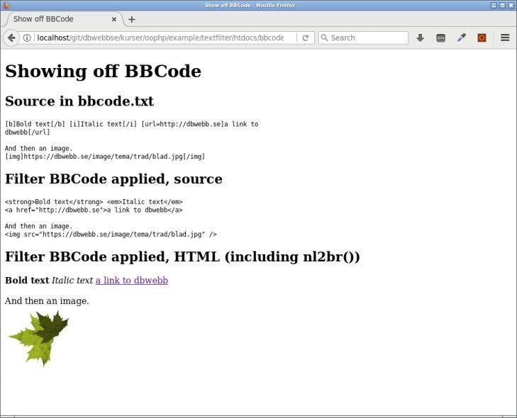 Kodexempel som visar hur BBCode fungerar.