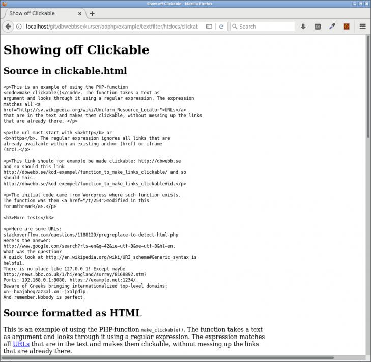 Kodexempel som visar hur funktionen makeClickable fungerar.