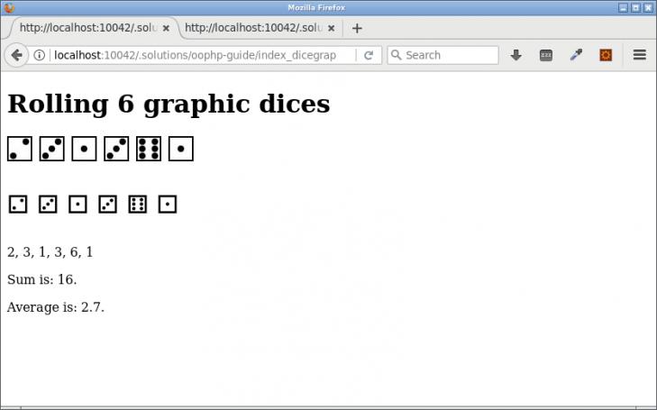 Ett antal tärningar representerade med olika grafiska metoder.