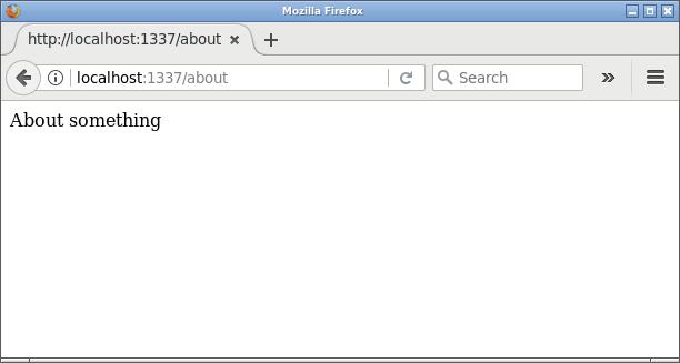 Så här ser routen `/about` ut i webbläsaren.