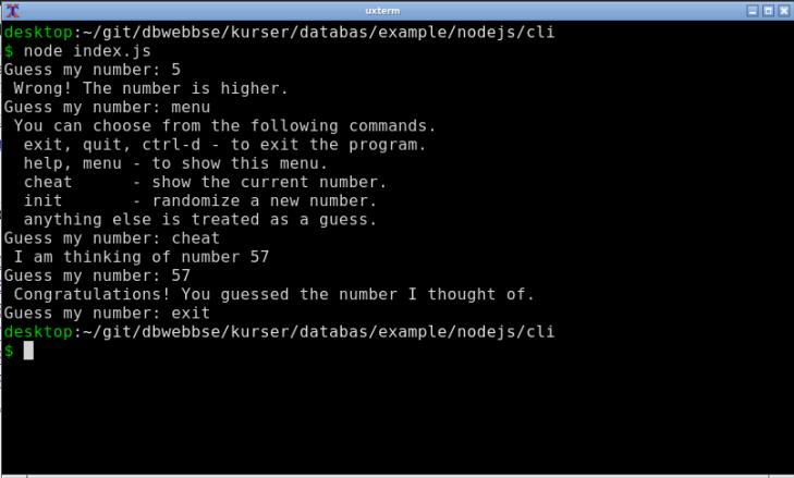 En terminalklient som implementerar spelet Gissa talet jag tänker på.