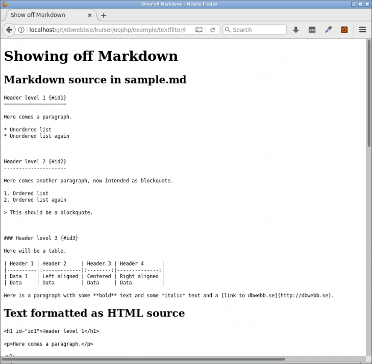 Utskriften av testprogrammet för Markdown.