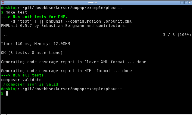 Enhetstestning med PHPUnit via en Makefile.