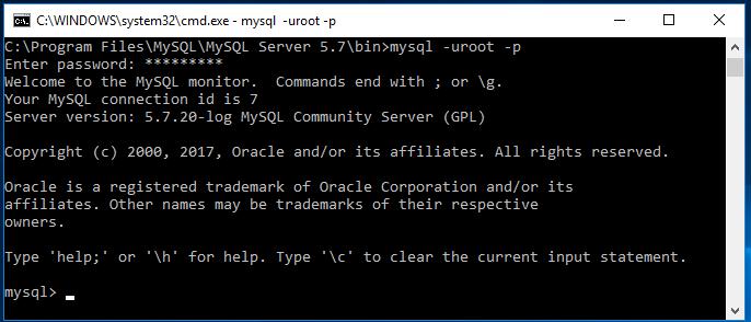 Startar MySQL terminalklient i Windows CMD-terminal.