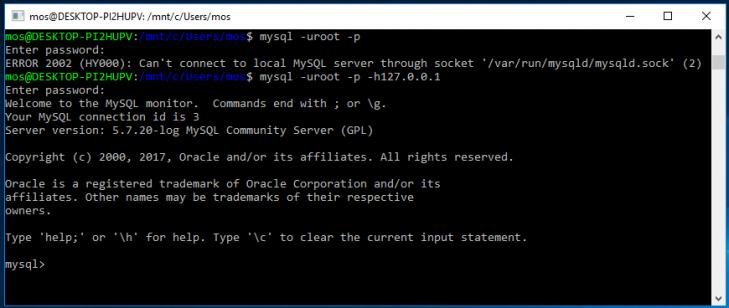 Startar terminalklienten på Windows 10 och Bash-terminalen.
