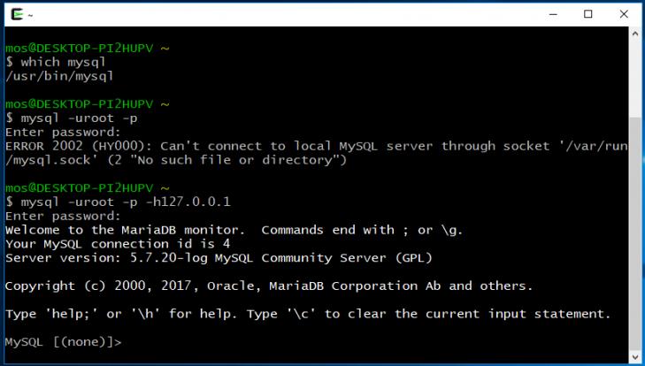 Startar terminalklienten på Windows 10 i Cygwin-terminalen.