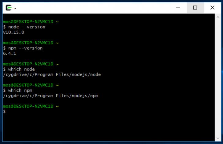 Node och npm går även att nå från Cygwin.