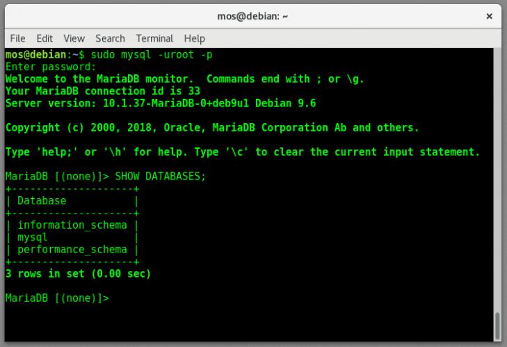 MySQL terminalklient startad med root-användaren.