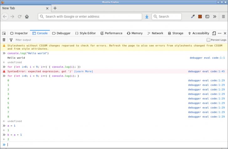 I en webbläsare kan man skriva JavaScript i devtools console.