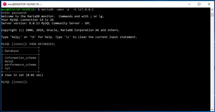 Startar terminalklienten på Debian/Bash i Windows 10.