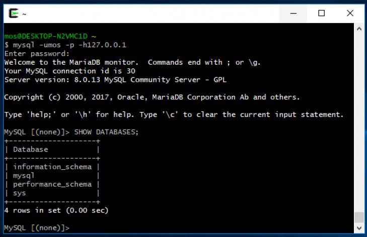Startar terminalklienten i Cygwin på Windows.