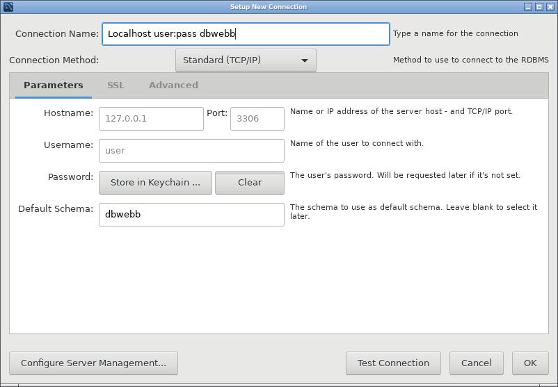 Min user-användare kopplar sig direkt till databasen dbwebb.