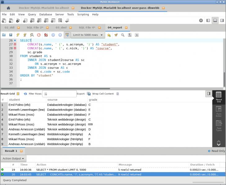 Nu kan vi även köra delar av de SQL-kommandon som finns i en fil.