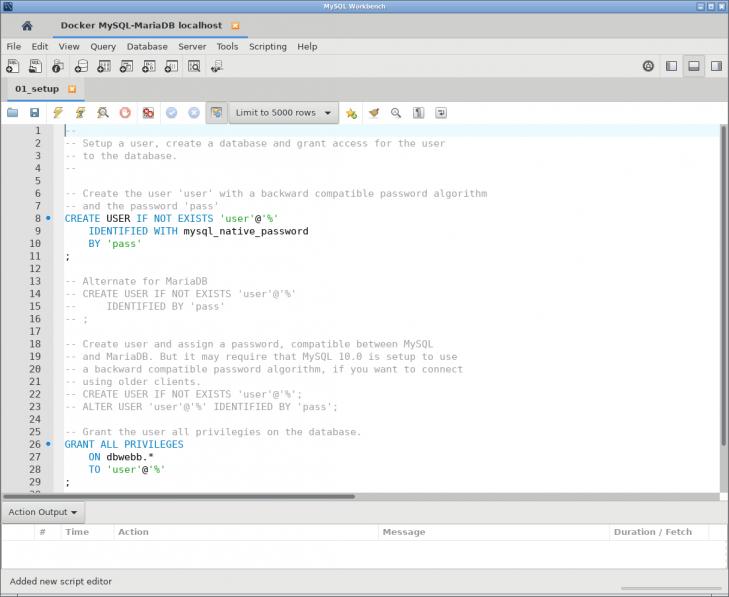 Nu är filen 01_setup.sql öppnad i klienten.