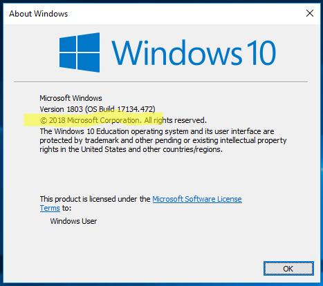 Version 1803 eller högre behöver vara installerad.