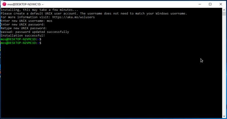 Nu är Debian för Windows installerat och klart.