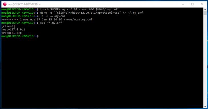 Du har nu skapat en konfigurationsfil som terminalklienten läser in.
