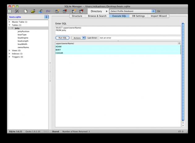 Omvandla alla namn till stora bokstäver med inbyggda funktionen upper().