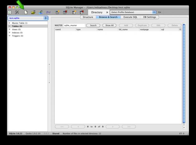 Skapa en ny databas, test.sqlite, i SQLite Manager.