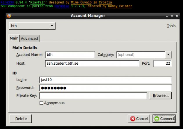 Inloggning till SSH via FireSSH i Firefox