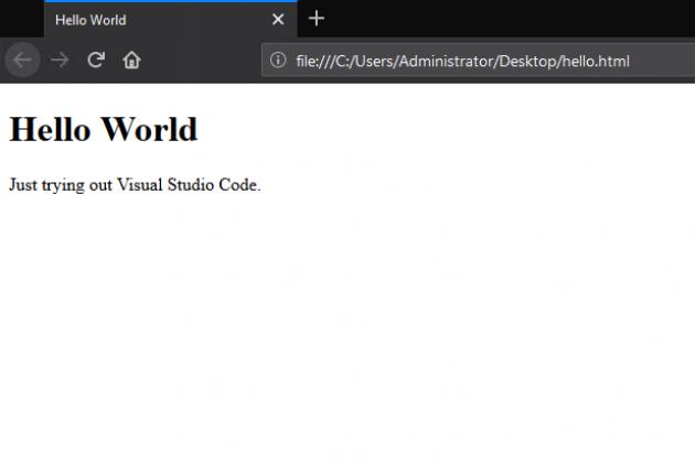 öppnar filen och visar i en webbläsare på Windows.