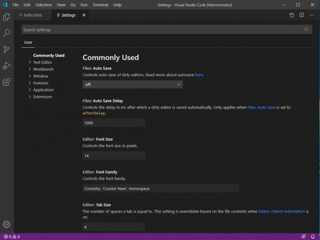 Fönstret för inställningar för Visual Studio Code.