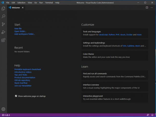 Visual Studio Code hälsar dig välkommen.