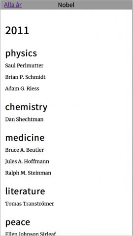 Screenshot Nobel app år vy
