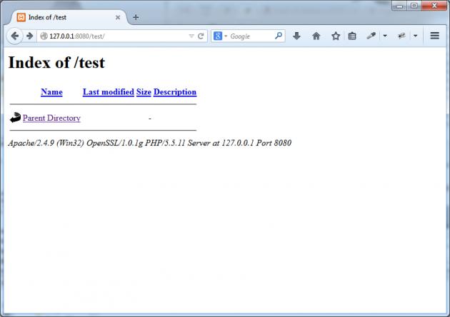 Katalogen `test` öppnad i webbläsaren via webbservern.