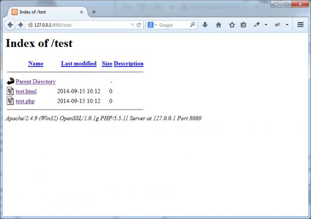 De nyskapade filerna är synliga via webbservern.