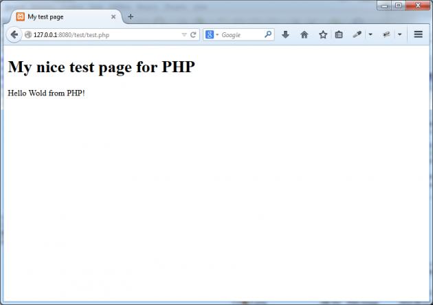 Visa filen `test.php` i webbläsaren.