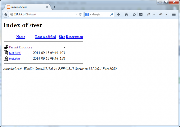 Filerna ligger i katalogen och är synliga via webbläsaren.