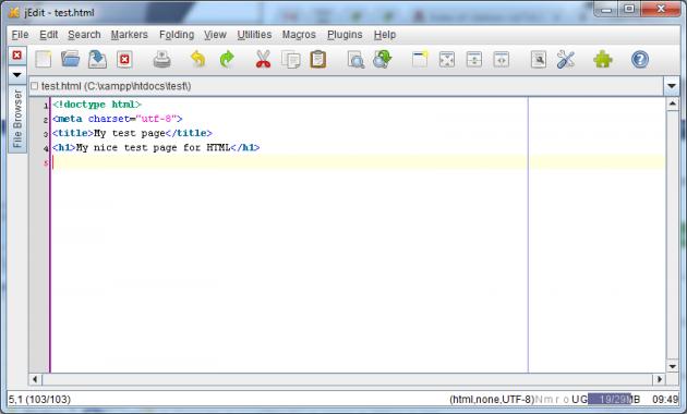 Filen `test.html` skapas i texteditorn.