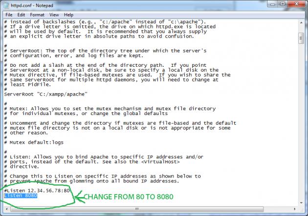 Byt port som Apache kör på för att undvika krockar med andra program.