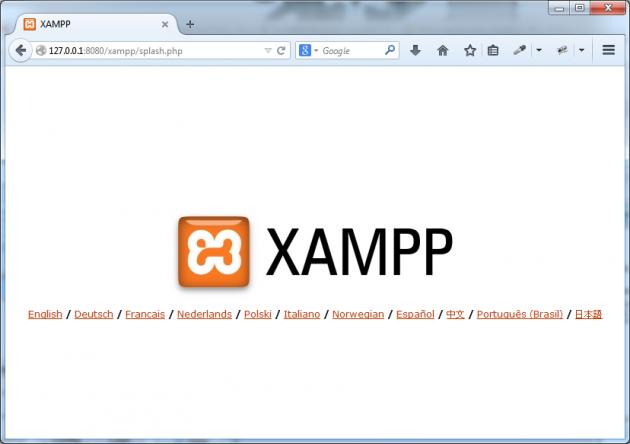 XAMPPs hemsida på din lokala maskin visas.